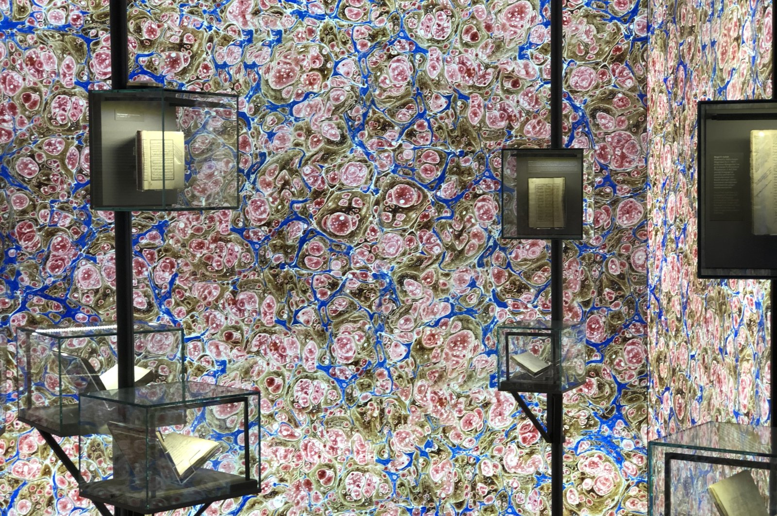 The room with the design of the pinkish-blue marbled paper at the Istanbul Research Institute. (Photo by Matt Hanson)
