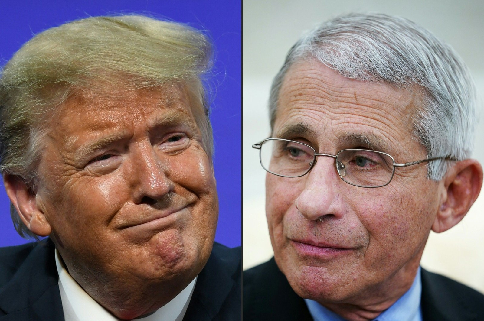 This file combination of pictures created on July 13, 2020, shows US President Donald Trump in Phoenix, Arizona, June 23, 2020, and Anthony Fauci, director of the National Institute of Allergy and Infectious Diseases in Washington, DC, April 29, 2020. (AFP Photo)