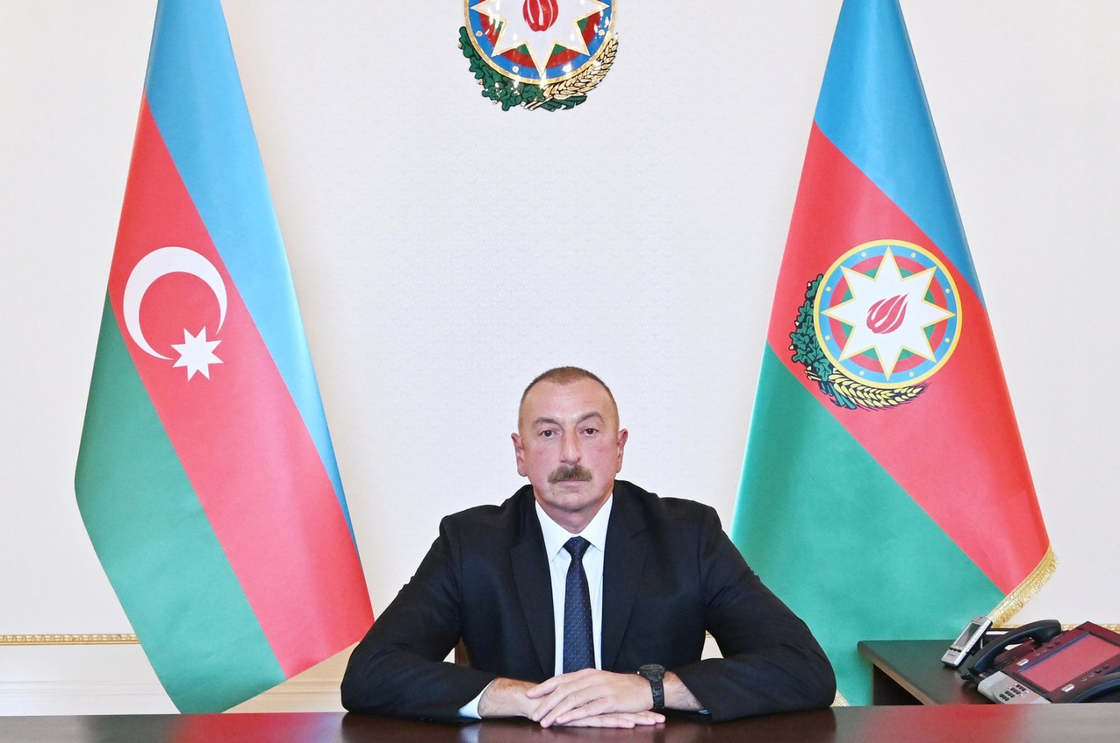 Azerbaijan's President Ilham Aliyev is pictured during an address to the nation in Baku, Azerbaijan Oct. 4, 2020. (REUTERS)