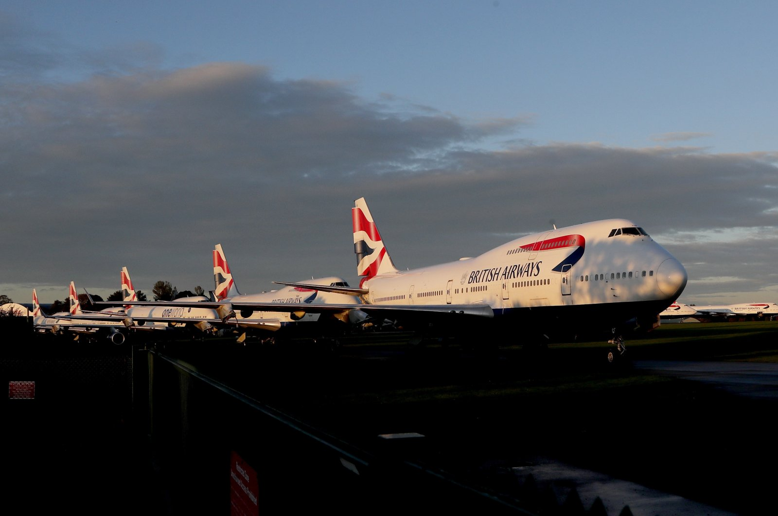 A retired British Airways Boeing 747-400 parked at Cotsworld Airport in Kemble, England, Oct. 11, 2020. (AP Photo)