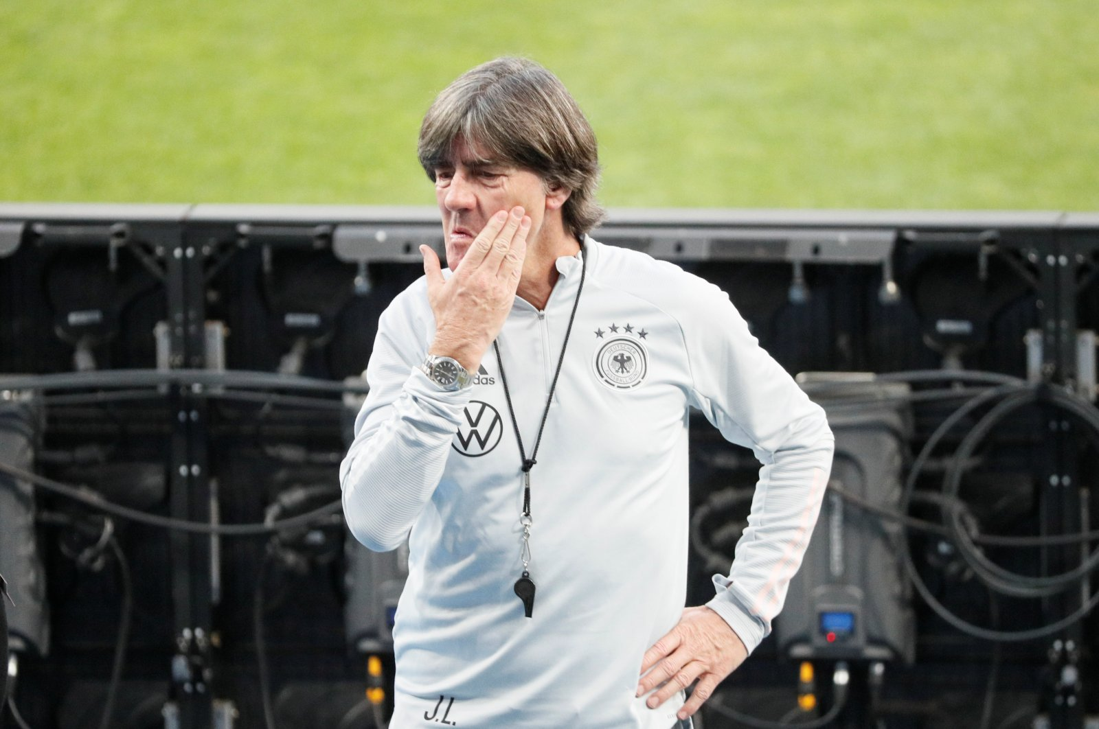 Germany coach Joachim Low during a training session ahead of UEFA Nations League match against Ukraine, in Kyiv, Oct. 9, 2020. (Reuters Photo)