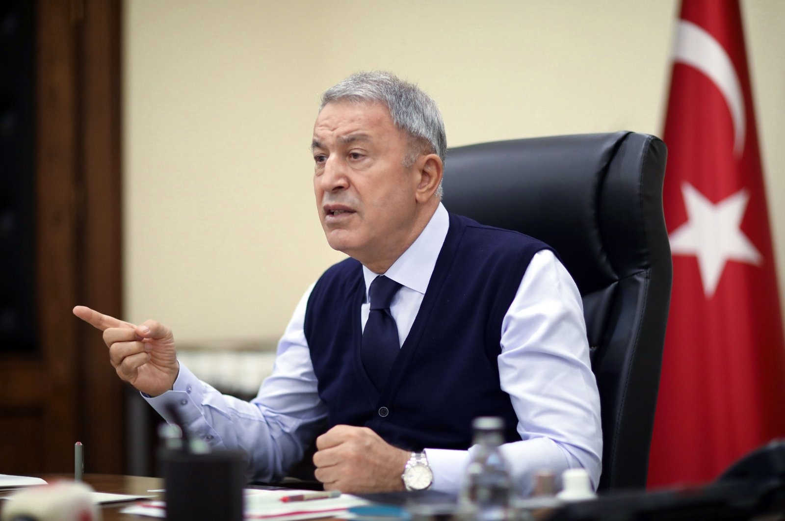 National Defense Minister Hulusi Akar speaks as he chairs a teleconference call meeting in the capital Ankara, Oct. 5, 2020. (AFP)