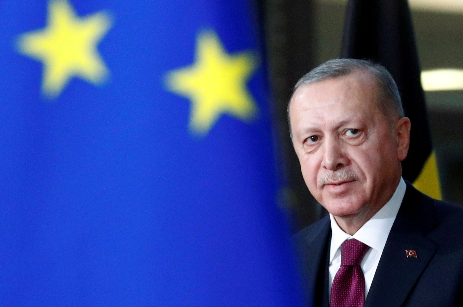 President Tayyip Erdoğan arrives for a meeting with European Council President Charles Michel in Brussels, Belgium, March 9, 2020. (Reuters Photo)