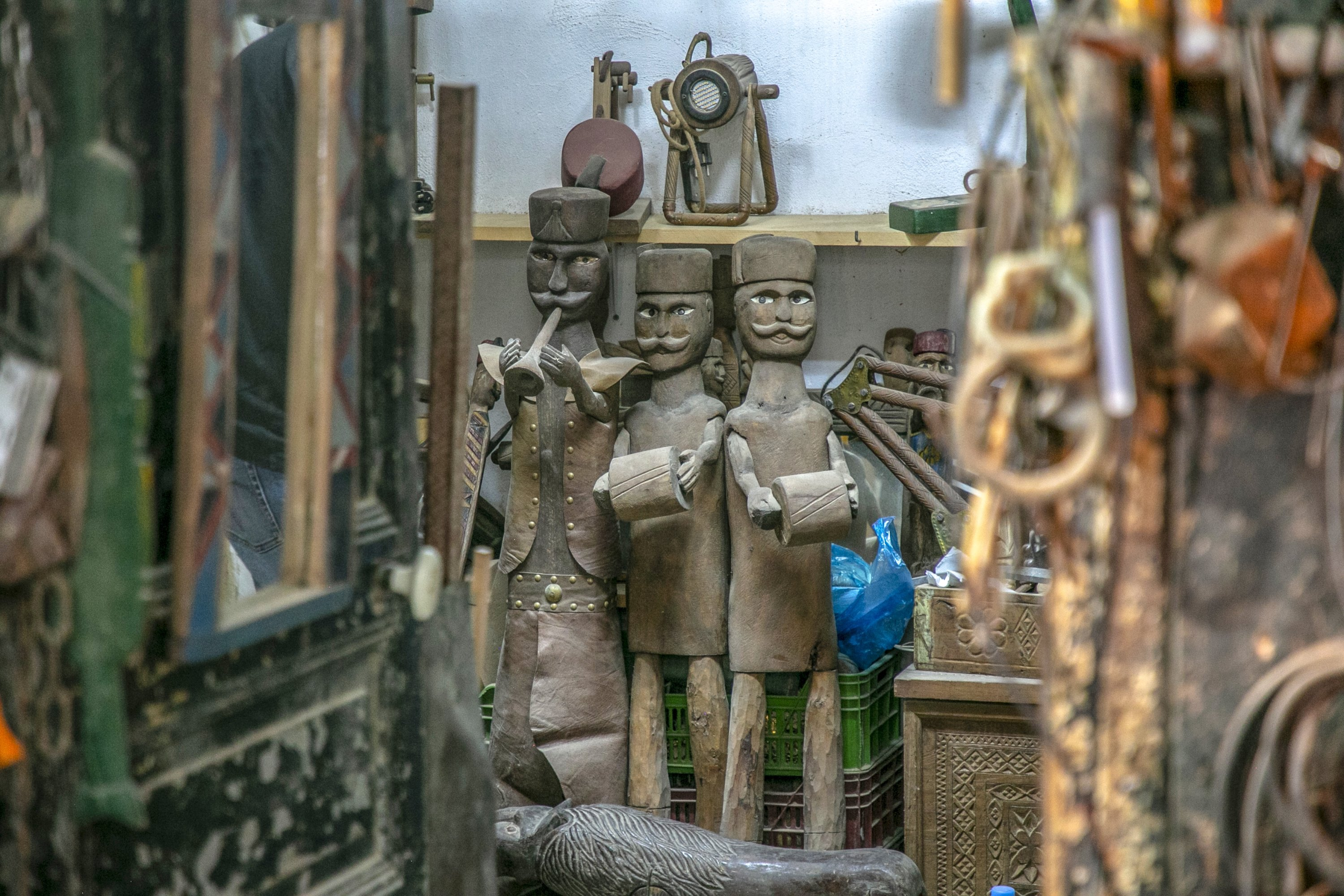 Janissary puppets in the preparation stage at the workshop of the brothers in the capital Tunis, Tunisia, Oct. 10, 2020. (AA Photo)