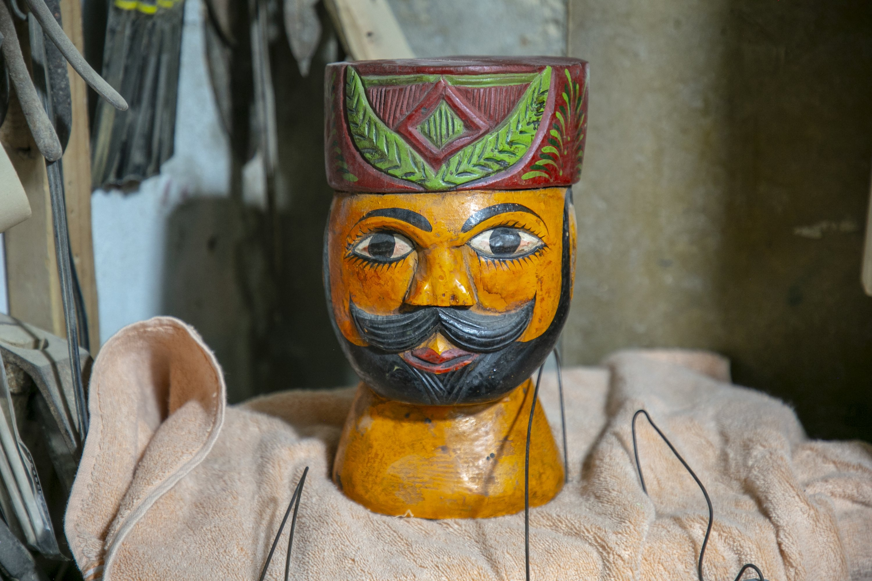 The head of a janissary puppet made by the brothers in their workshop in the capital Tunis, Tunisia, Oct. 10, 2020. (AA Photo)