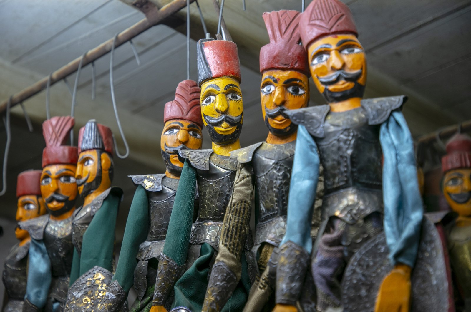 Soma janissary puppets of the Tunisian brothers are seen in their workshop in the capital Tunis, Tunisia, Oct. 10, 2020. (AA Photo)