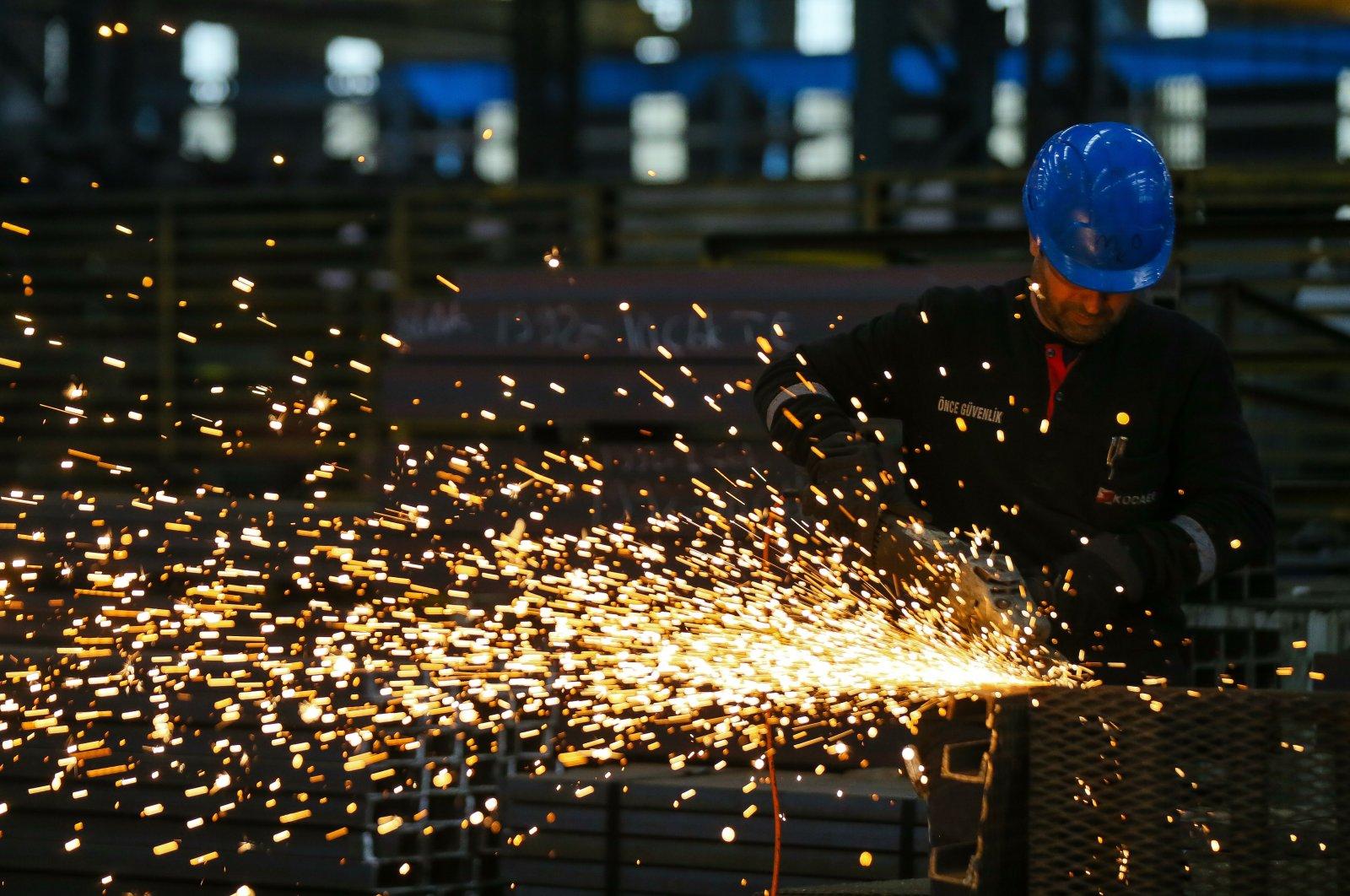 A worker is seen at a steel factory in Aliağa, western Izmir province, Turkey, Nov. 12, 2019. (AA Photo)