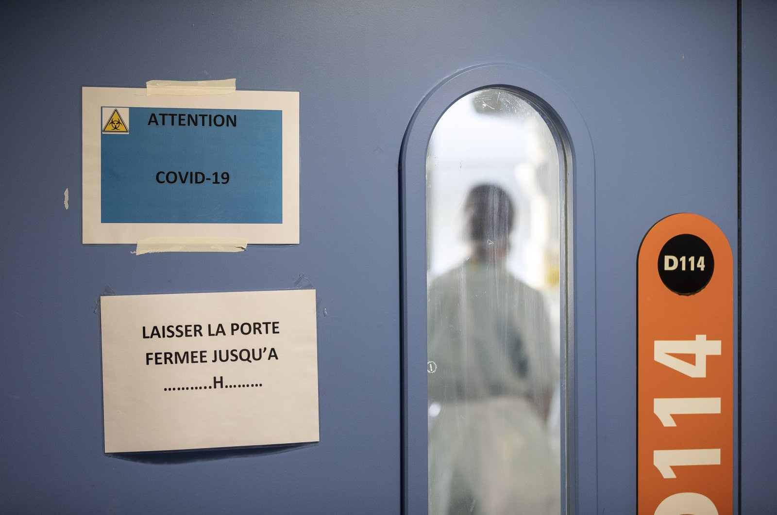A nurse in a COVID-19 area of the Nouvel Hospital Civil of Strasbourg, France, Sept. 15, 2020. (AP Photo)