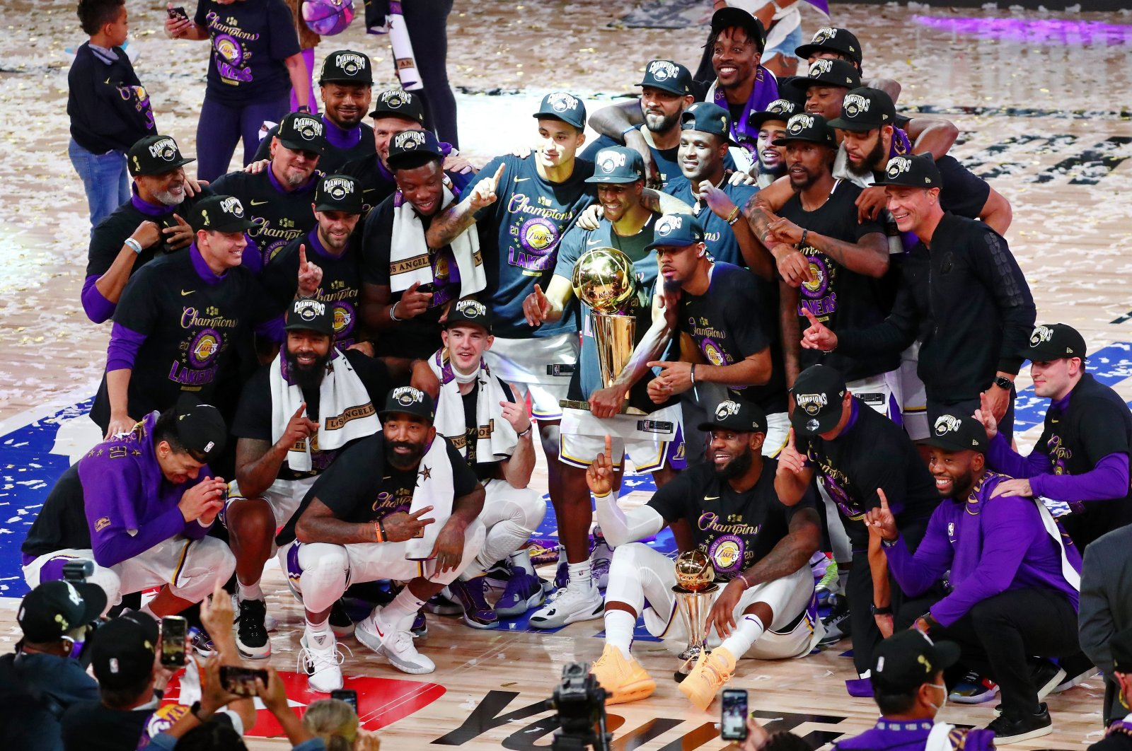 Los Angeles Lakers pose for a photo as they celebrate winning the NBA championship after defeating Miami Heat in Game 6, in Lake Buena Vista, Florida, U.S., Oct. 11, 2020. (Reuters Photo)