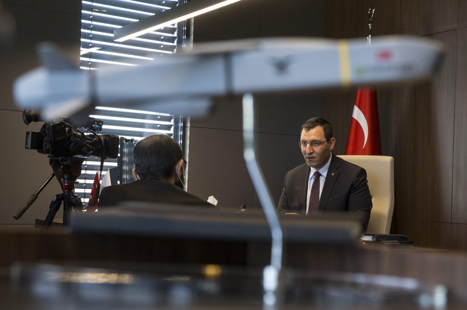 Roketsan Chairperson Murat İkinci gives an interview to an Anadolu Agency reporter regarding Turkey's space program, the capital Ankara, Sept. 13, 2020. (AA Photo)