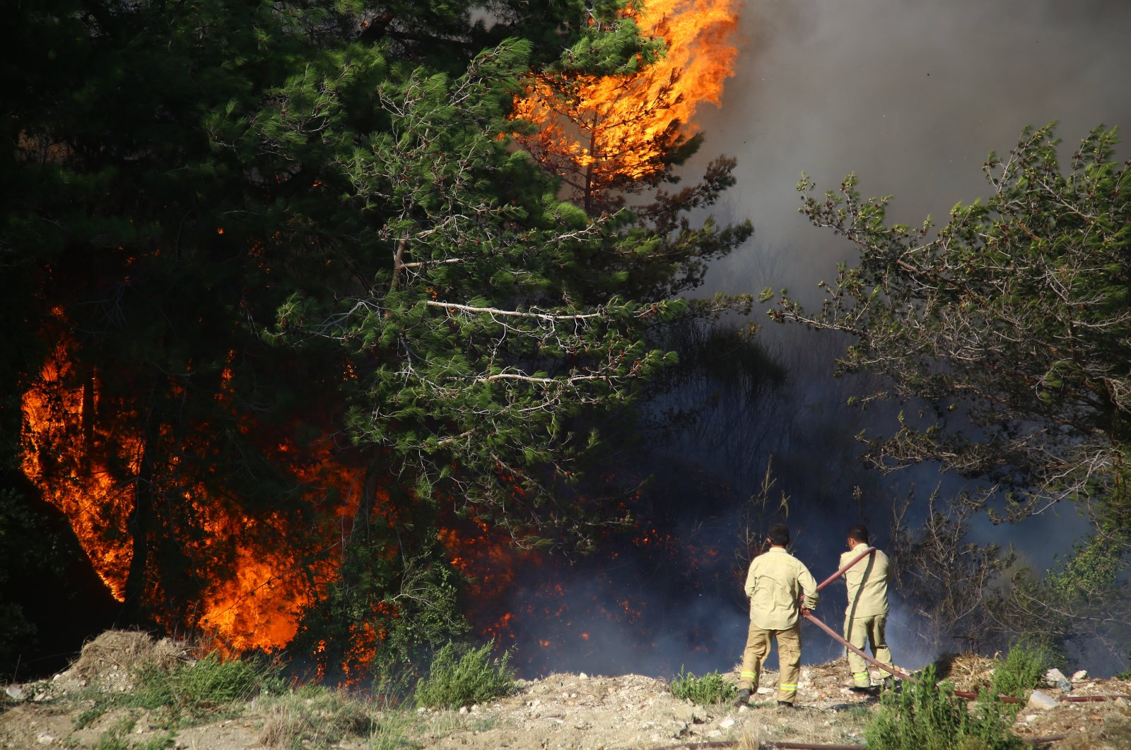 Firefighters put out flames in Hatay, southern Turkey, Oct. 10, 2020. (AA Photo)
