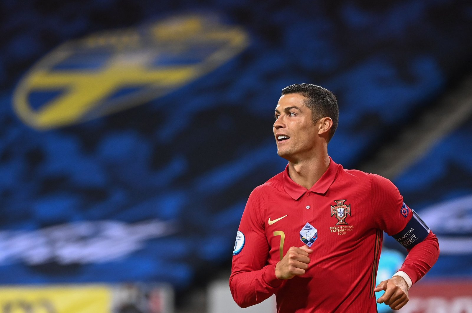 Portugal's forward Cristiano Ronaldo reacts during a UEFA Nations League match against Sweden, in Solna, Sweden, Sept. 8, 2020. (AFP Photo)