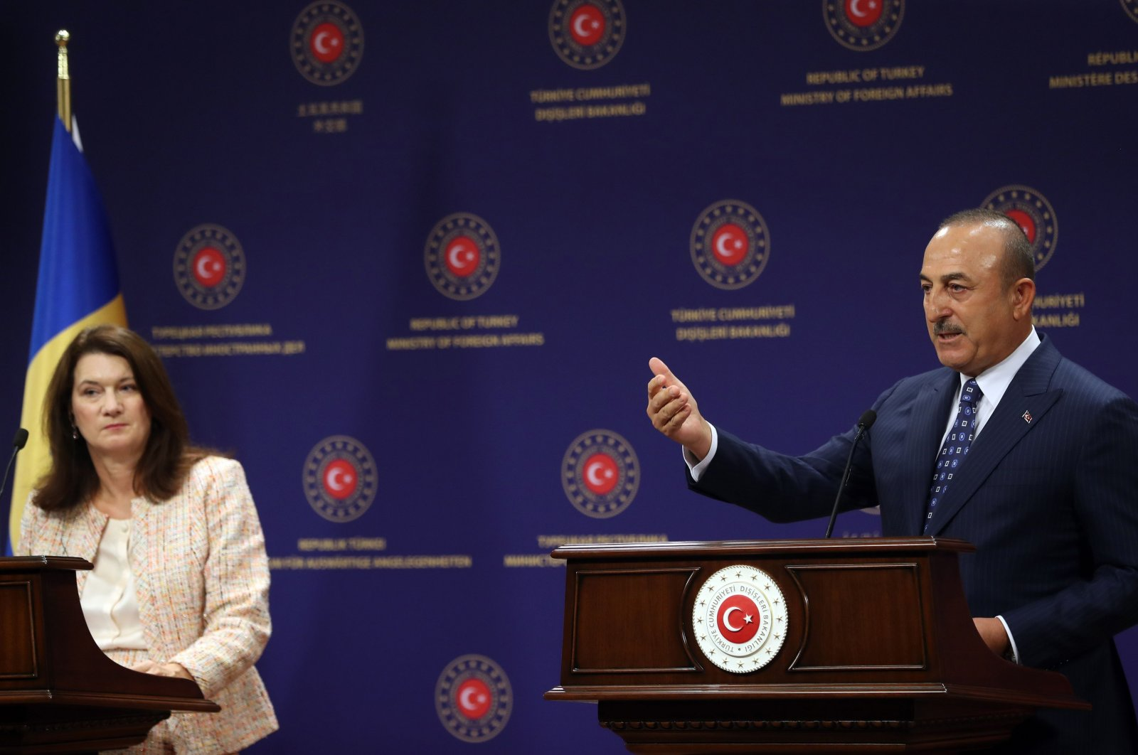Turkish Foreign Minister Mevlüt Çavuşoğlu (R) and Swedish Foreign Minister Ann Linde (L) hold joint press conference after their meeting at the Foreign Ministry headquarters in Ankara, Turkey on October 13, 2020. (AFP Photo)