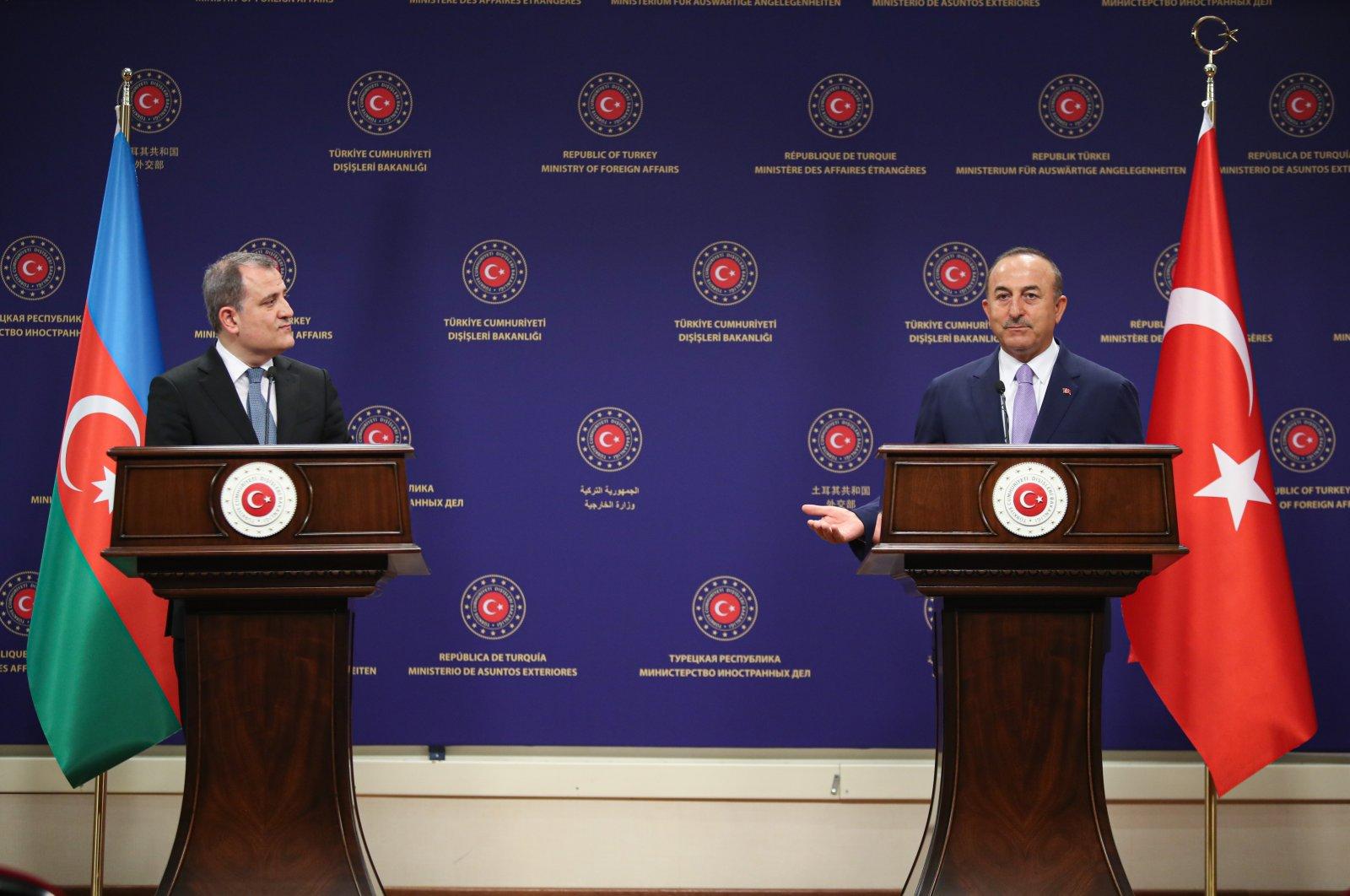 Foreign Minister Mevlüt Çavuşoğlu (R) and his Azerbaijani counterpart Jeyhun Bayramov during a joint press conference in the capital Ankara, Turkey, Aug. 12, 2020. (AA Photo)