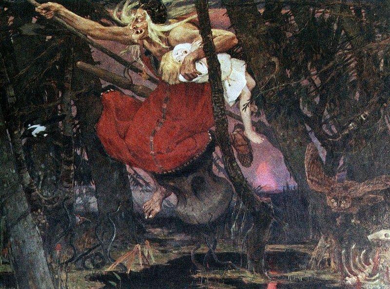 A painting describing Baba Yaga by Russian artist Viktor Mikhaylovich Vasnetsov.