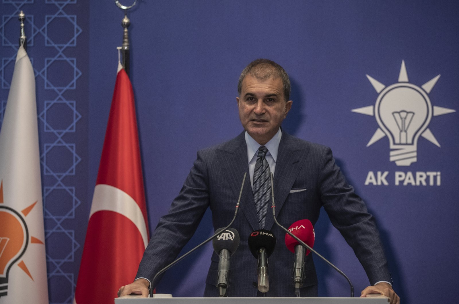 Justice and Development Party (AK Party) spokesperson Ömer Çelik speaks to reporters following a Central Decision and Executive Board meeting at the party headquarters in the capital Ankara, Turkey, Oct. 13, 2020 (AA Photo)