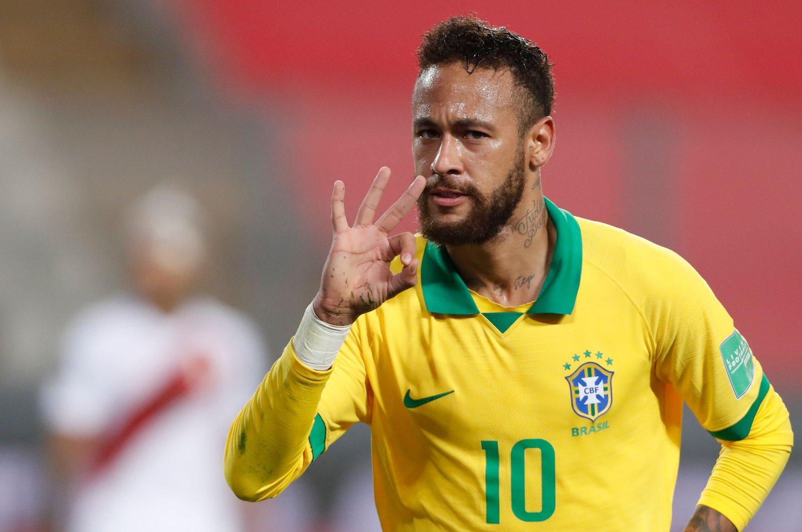 Neymar celebrates after scoring against Peru, in Lima, Peru, Oct. 13, 2020. (AFP Photo)