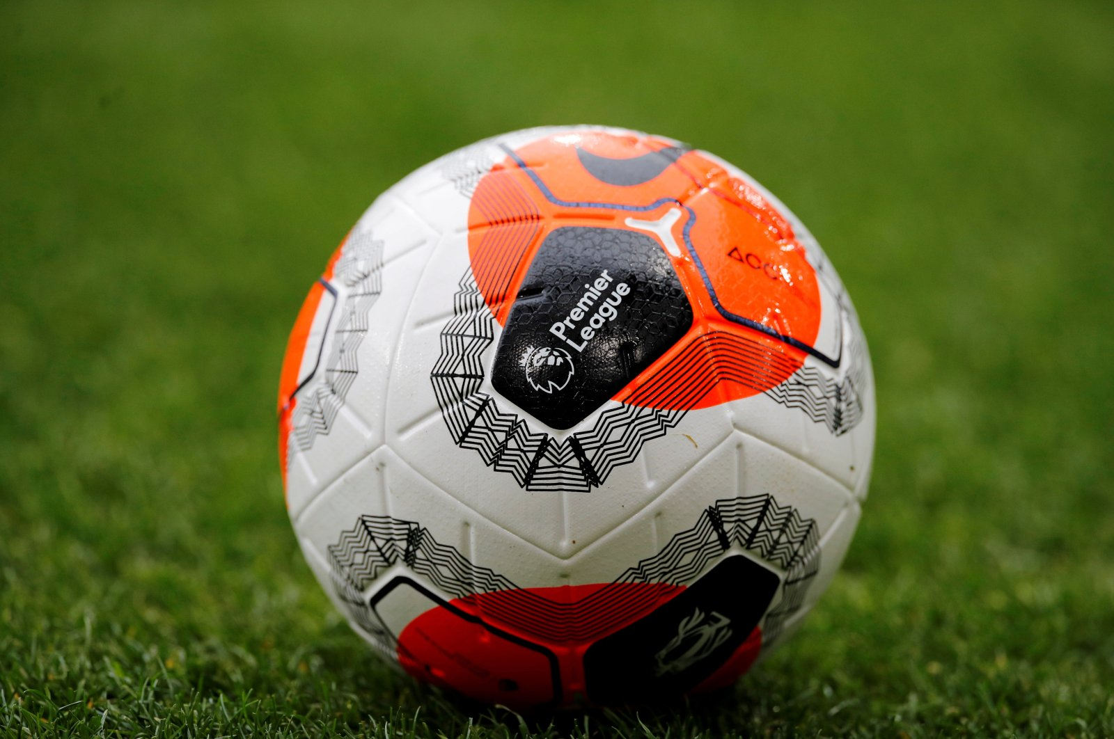 General view of the Premier League logo on a match ball before a match, in Burnley, Britain, Feb. 22, 2020. (REUTERS Photo)