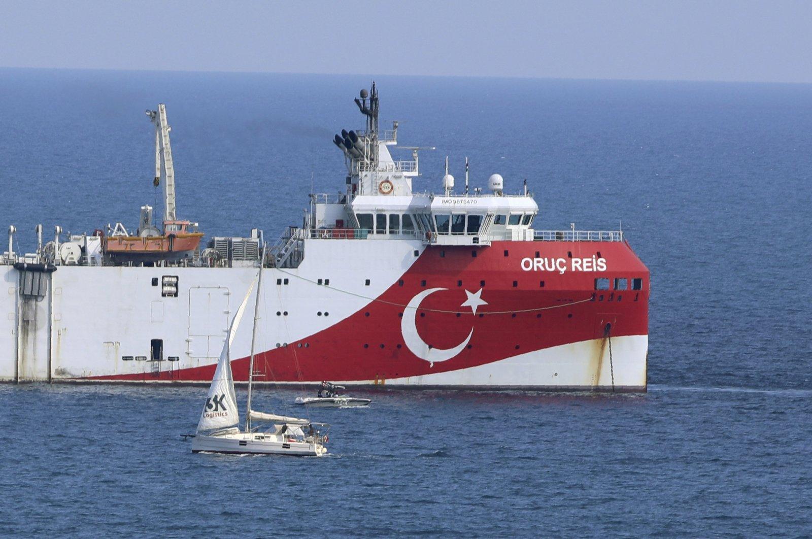 Turkey's research vessel Oruc Reis anchors off the coast of Antalya in the Mediterranean Sea, Turkey. Sept. 13, 2020. (AP Photo)