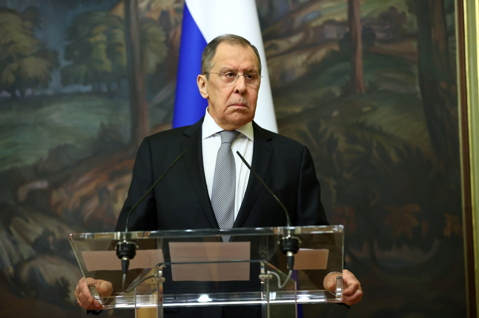 Russian Foreign Minister Sergey Lavrov attends a news conference with his Armenian counterpart Zohrab Mnatsakanyan in Moscow, Russia, Oct. 12, 2020. (Reuters Photo)