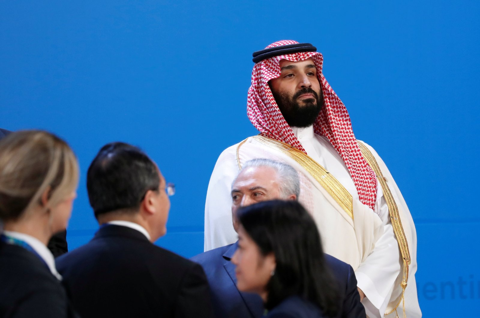 Saudi Crown Prince Mohammed bin Salman looks out as leaders arrive for a family photo at the G20 summit, Buenos Aires, Nov. 30, 2018. (REUTERS Photo)