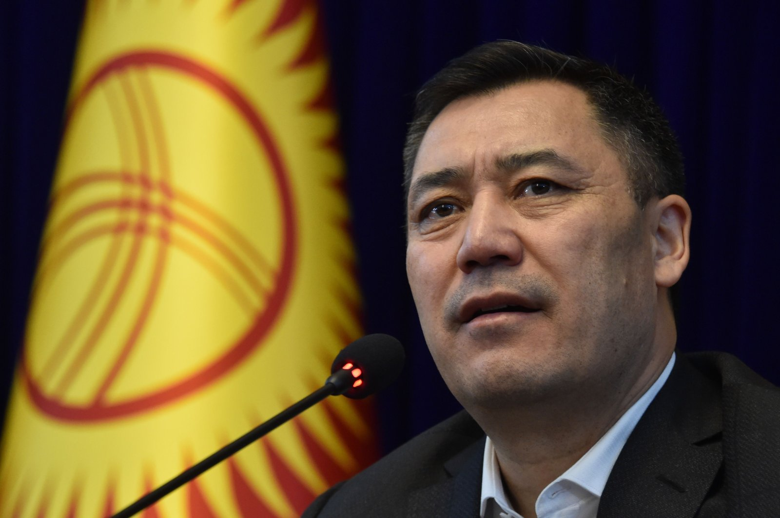 Kyrgyz acting prime minister Sadyr Zhaparov holds a press conference at the Ala-Archa state residence, Bishkek, Oct. 10, 2020. (AFP Photo)