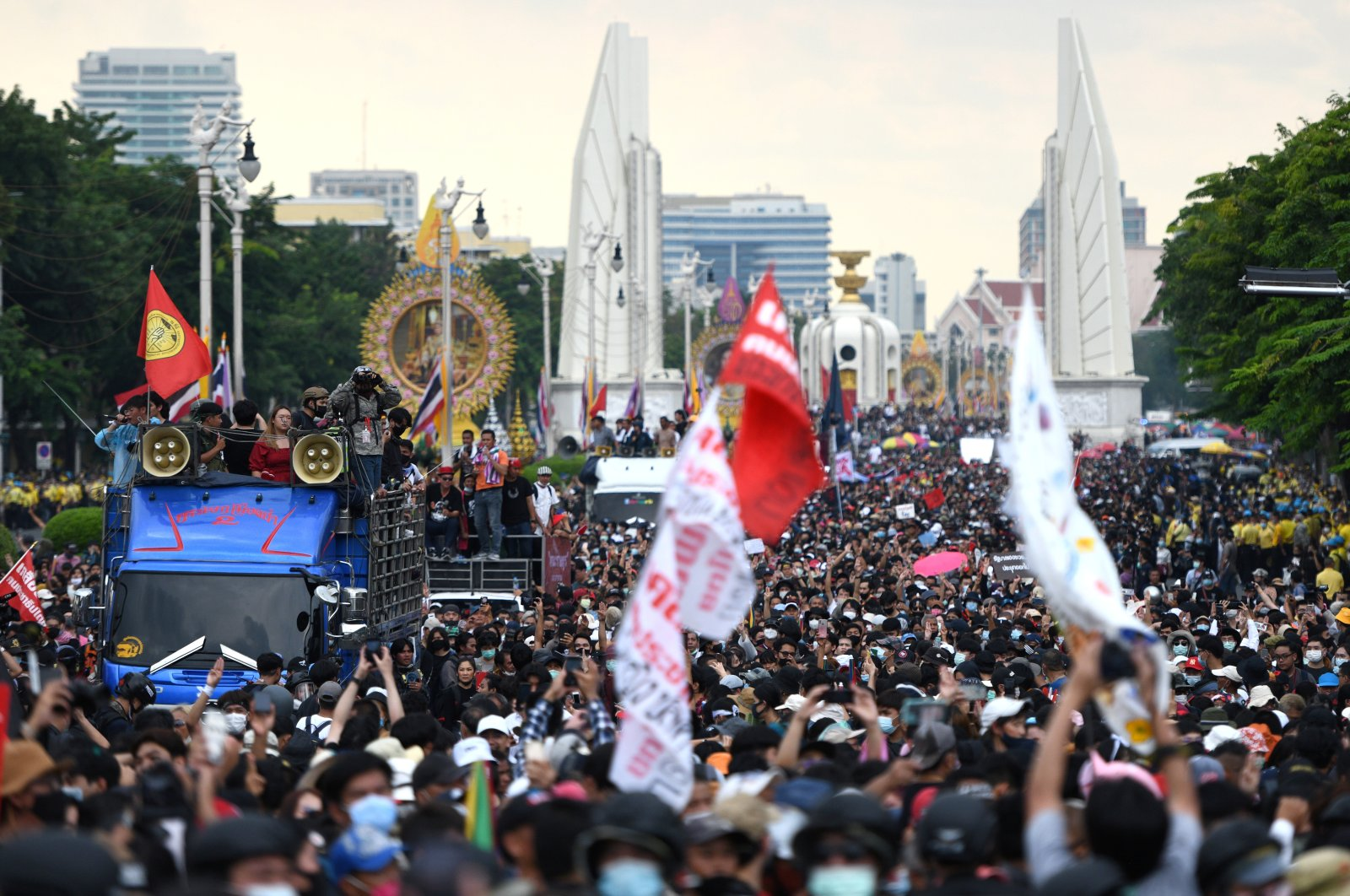 Pro-democracy demonstrators march during a Thai anti-government mass protest, on the 47th anniversary of the 1973 student uprising, in Bangkok, Thailand, Oct. 14, 2020. (Reuters Photo)