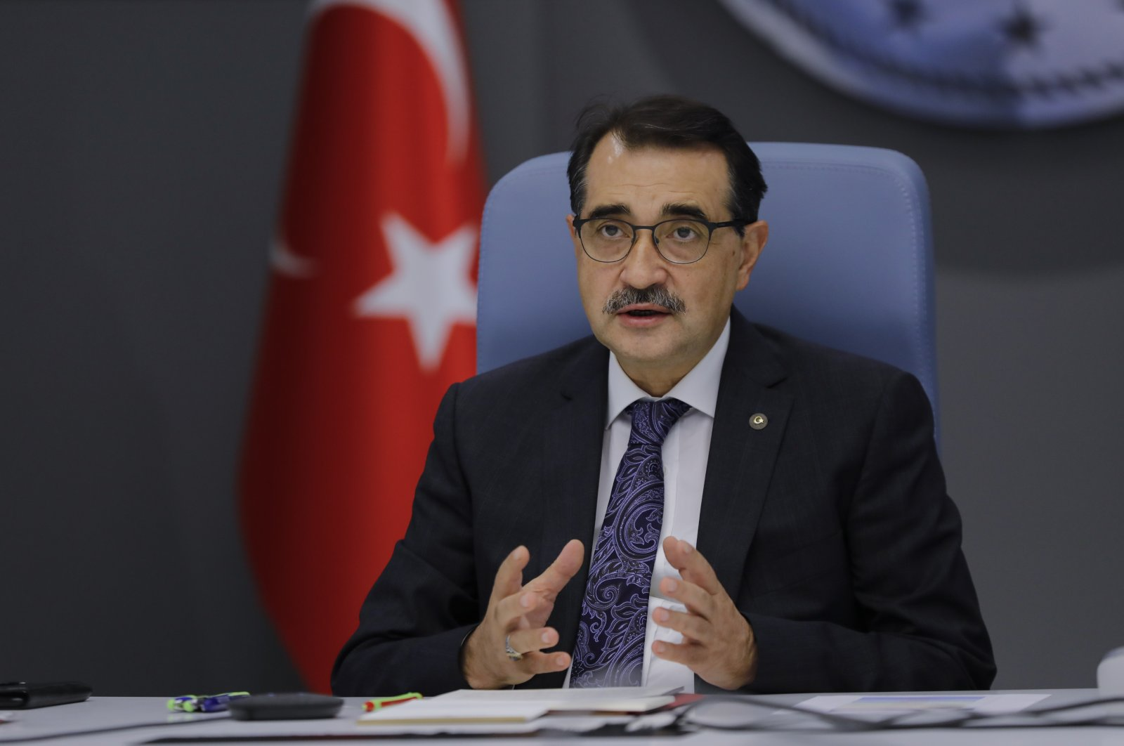 Energy and Natural Resources Minister Fatih Dönmez speaks at a video conference of the International Energy and Environment Digital Conference and Fair (ICCI 2020), Oct. 14, 2020. (AA Photo)