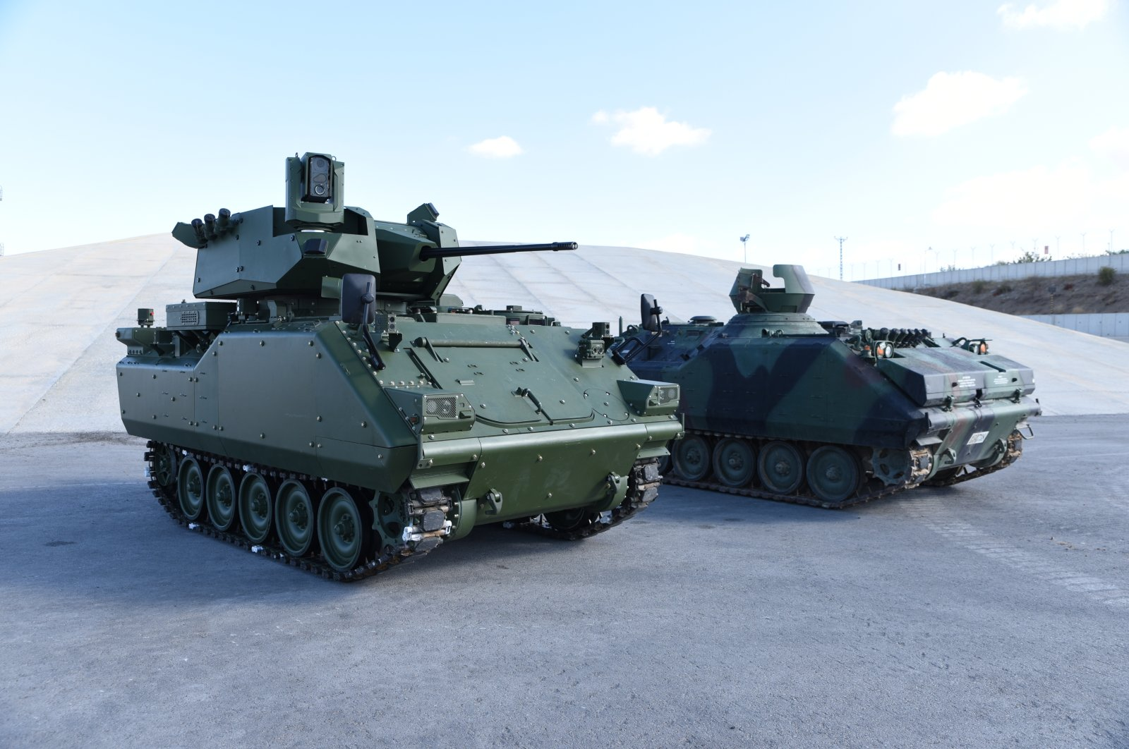 Prototypes of armored combat vehicles that are being modernized as part of joint project by two Turkish defense firms, Oct. 14, 2020. (Photo by the SSB via AA)