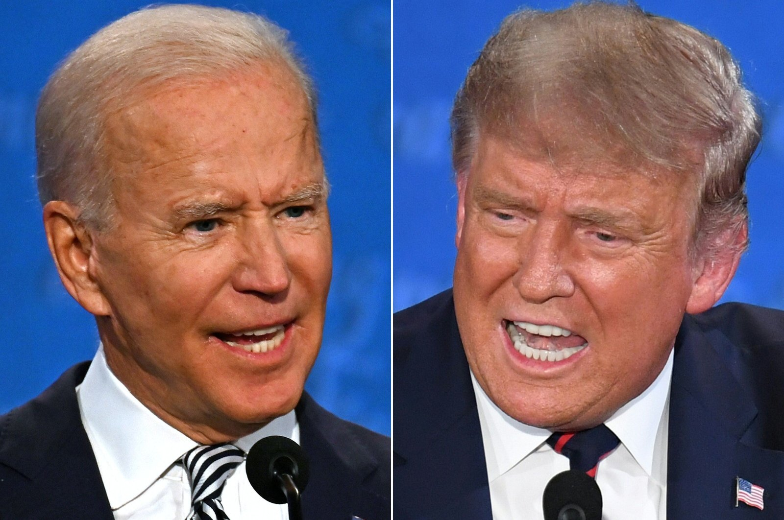 In this combination of pictures, Democratic Presidential candidate and former U.S. Vice President Joe Biden (L) and U.S. President Donald Trump speak during the first presidential debate at the Case Western Reserve University and Cleveland Clinic in Cleveland, Ohio, created on Sept. 29, 2020. (AFP Photo)