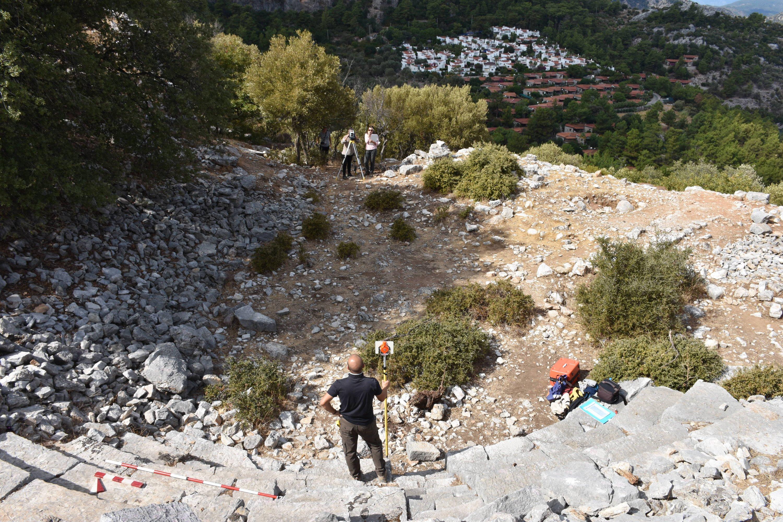 Archaeologists make a surface survey at the ancient city of Amos, Muğla, southwestern Turkey, Oct. 13, 2020. (AA Photo)