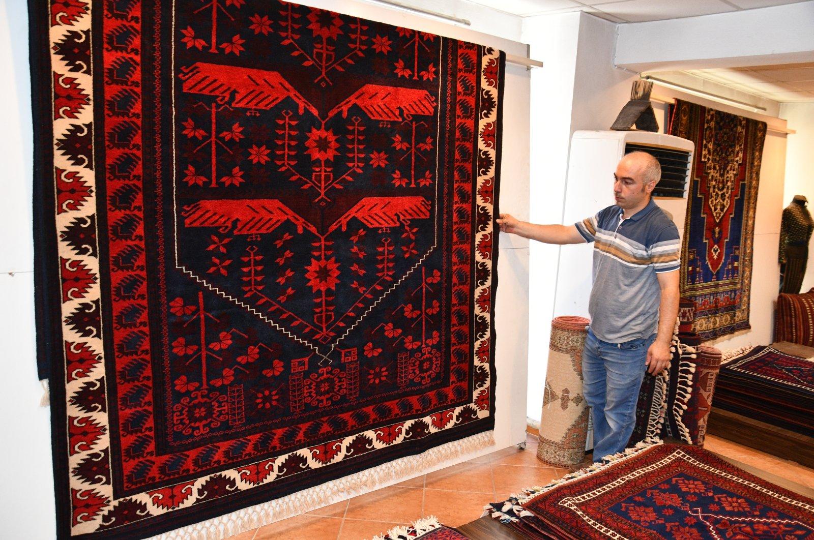 A Yağcıbedir carpet is seen with its vivid colors in Sındırgı district, Balıkesir, western Turkey, Oct. 14, 2020. (AA Photo)