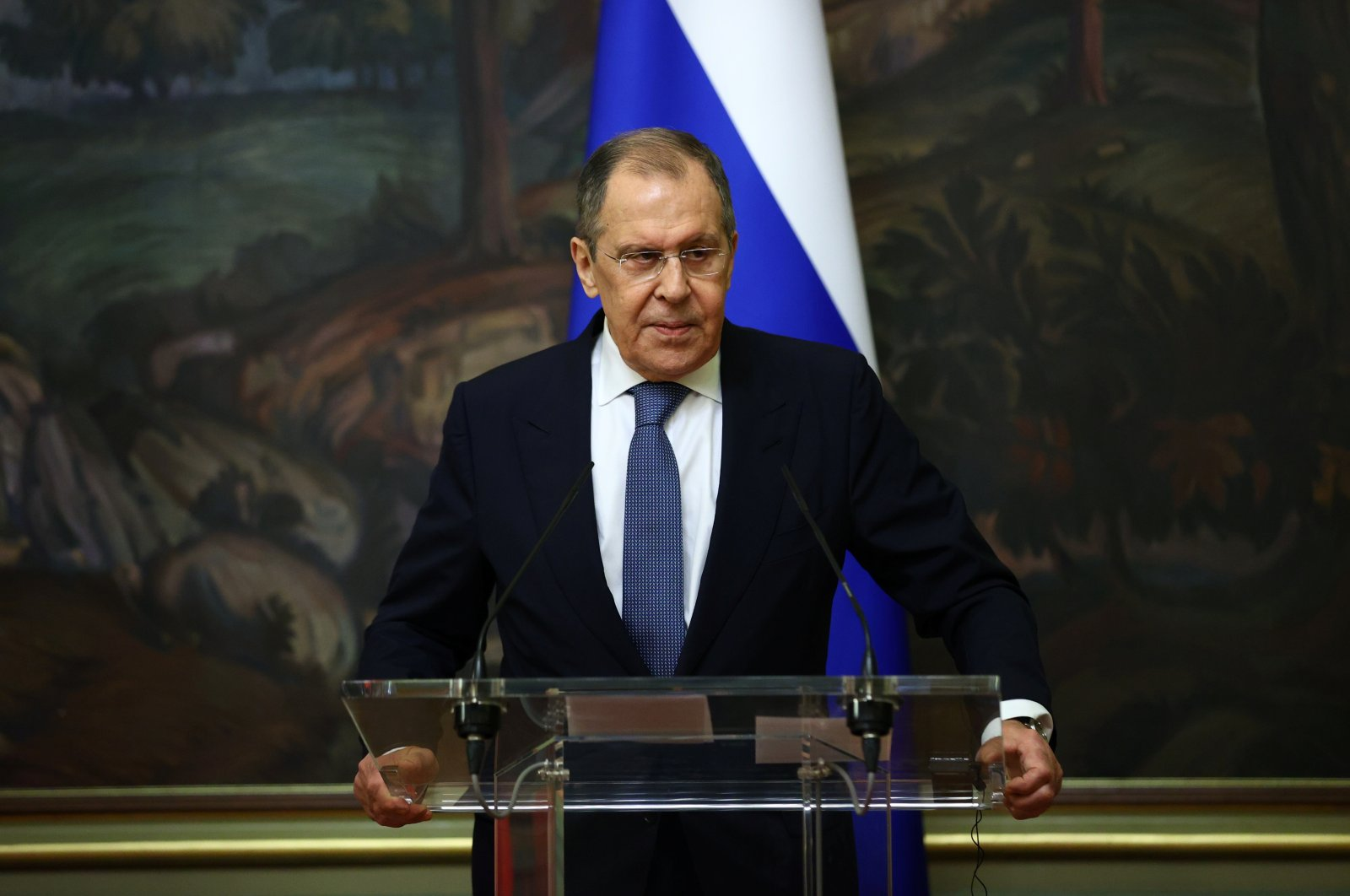 Russian Foreign Minister Sergei Lavrov speaks during a joint news conference with Italian Foreign Minister Luigi Di Maio (not pictured) in Moscow, Russia, Oct. 14, 2020. (Reuters Photo)