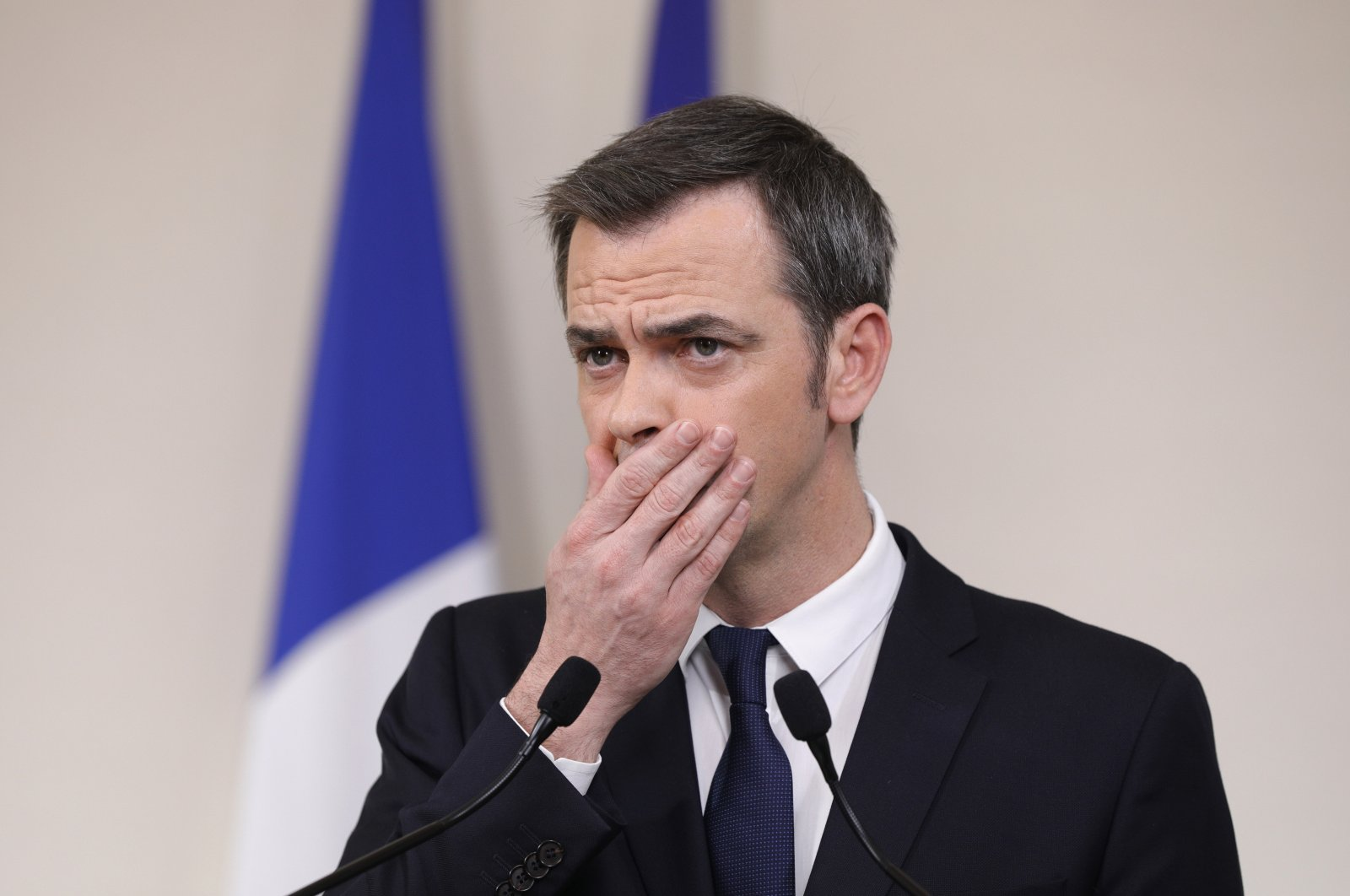 French Minister for Solidarity and Health Olivier Veran speaks during a press conference in Paris on March 28, 2020. (AP Photo)