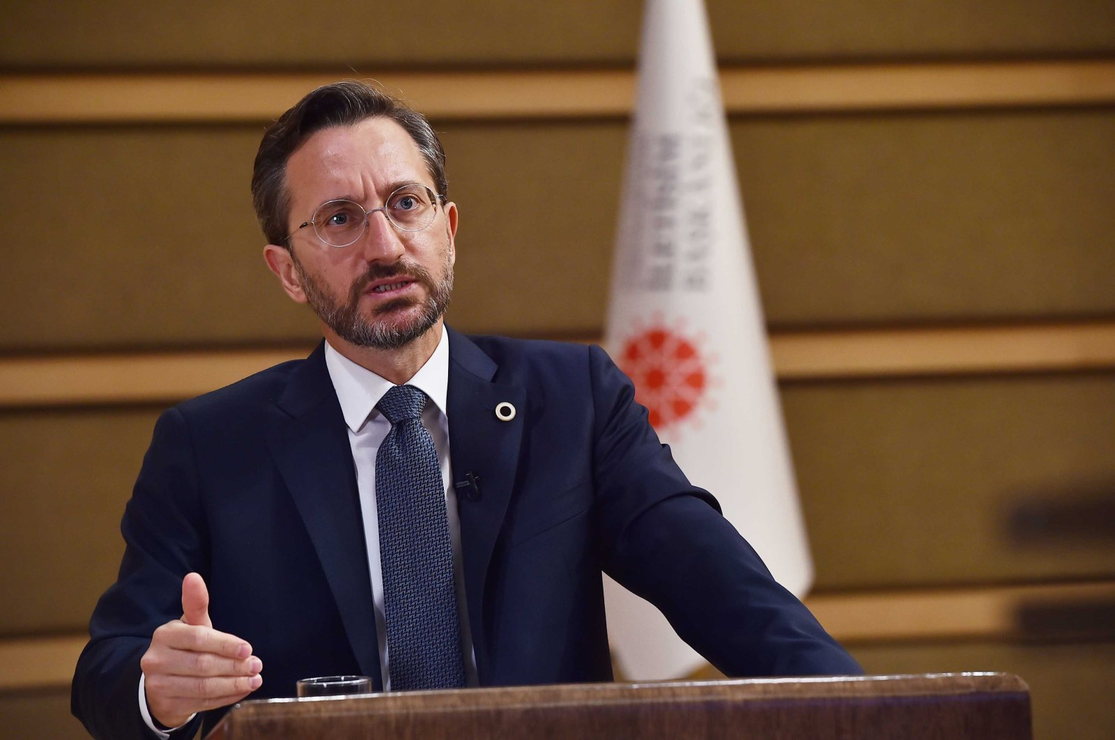 Presidential Communications Director Fahrettin Altun speaks during a videoconference on improving the rights of press workers, in the capital Ankara, Aug. 6, 2020. (AA Photo)