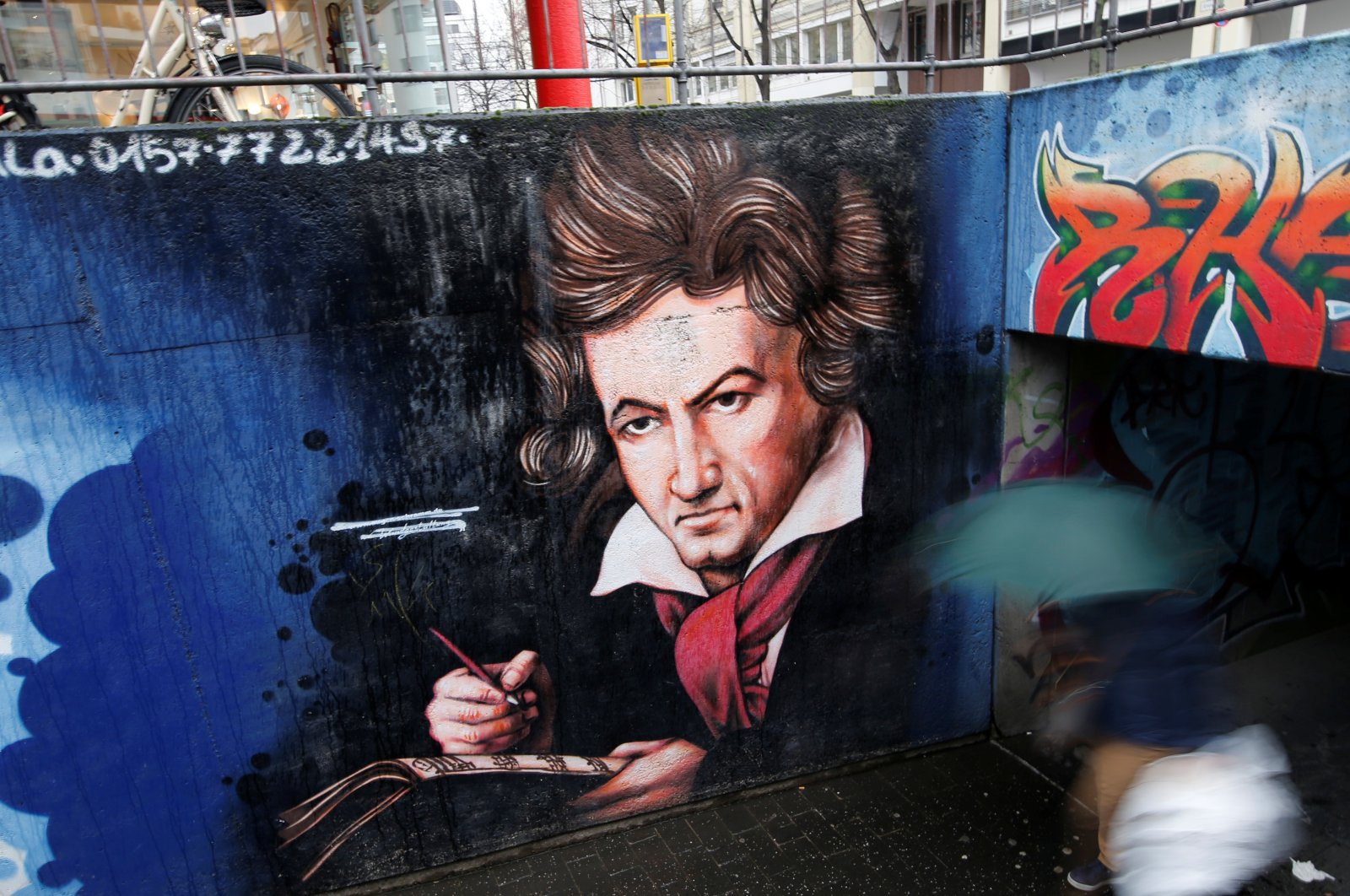 A mural of Ludwig van Beethoven is seen at a pedestrian tunnel in Bonn, Germany December 13, 2019. (REUTERS PHOTO)