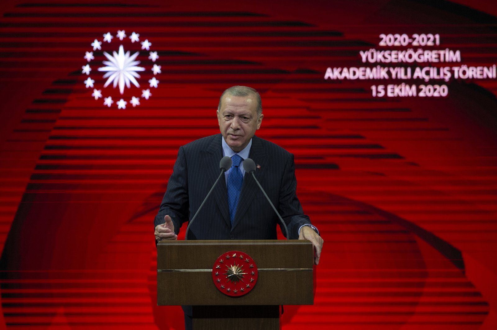 President Recep Tayyip Erdoğan speaks at the opening ceremony of the 2020-2021 higher education academic year in the capital Ankara, Turkey, Oct. 15, 2020. (AA Photo)