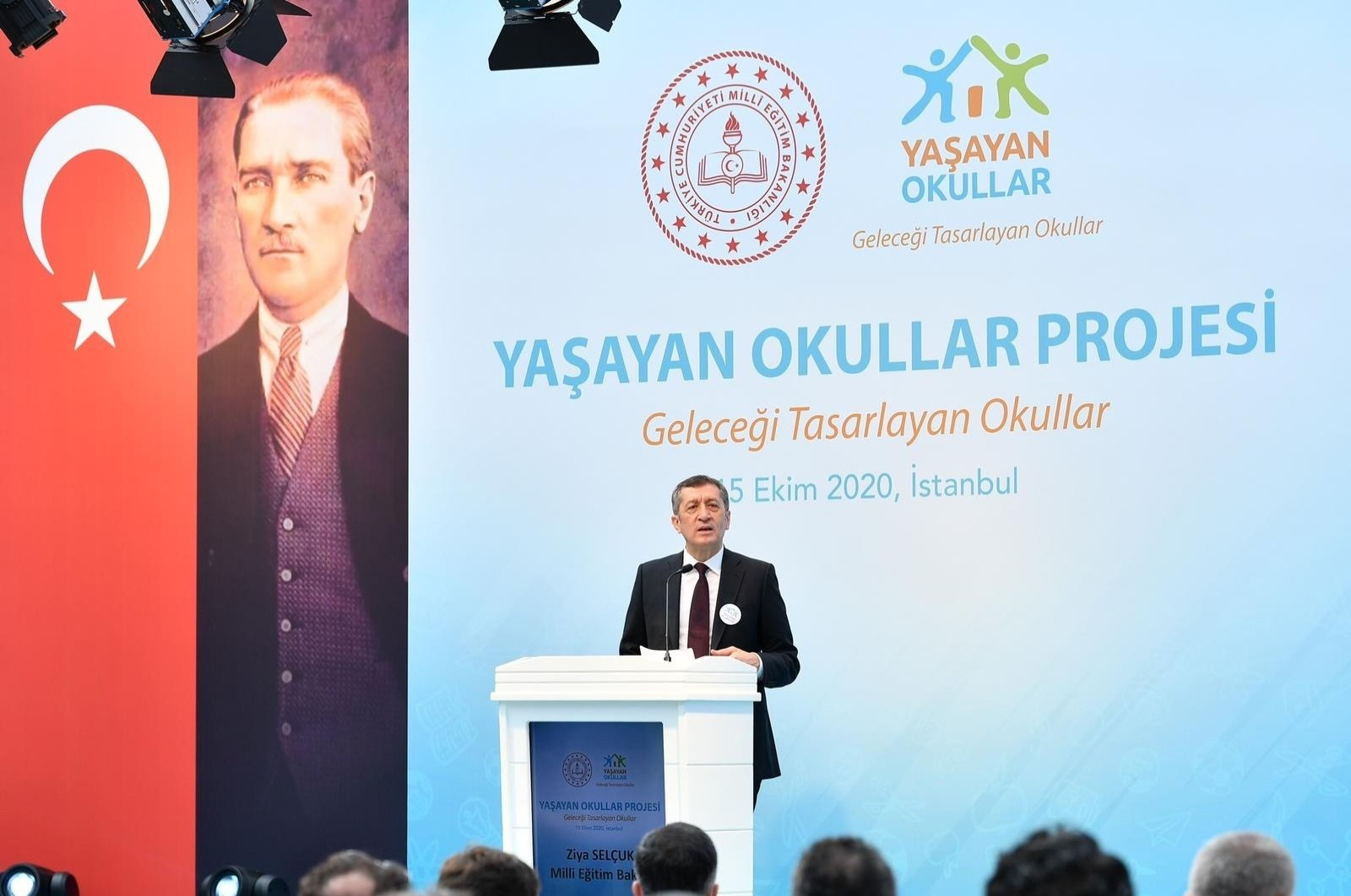 """Minister of National Education Ziya Selçuk speaks at the """"Living Schools"""" event, in Istanbul, Turkey, Oct. 15, 2020. (IHA Photo)"""