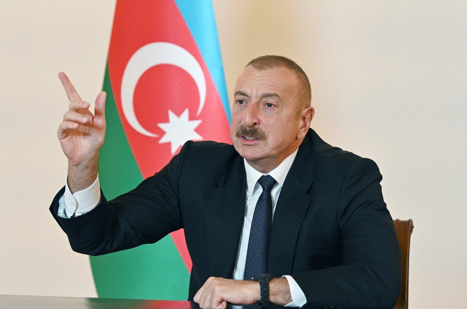 Azerbaijan's President Ilham Aliyev speaks during an address to the nation in Baku, Azerbaijan Oct. 9, 2020. (REUTERS)