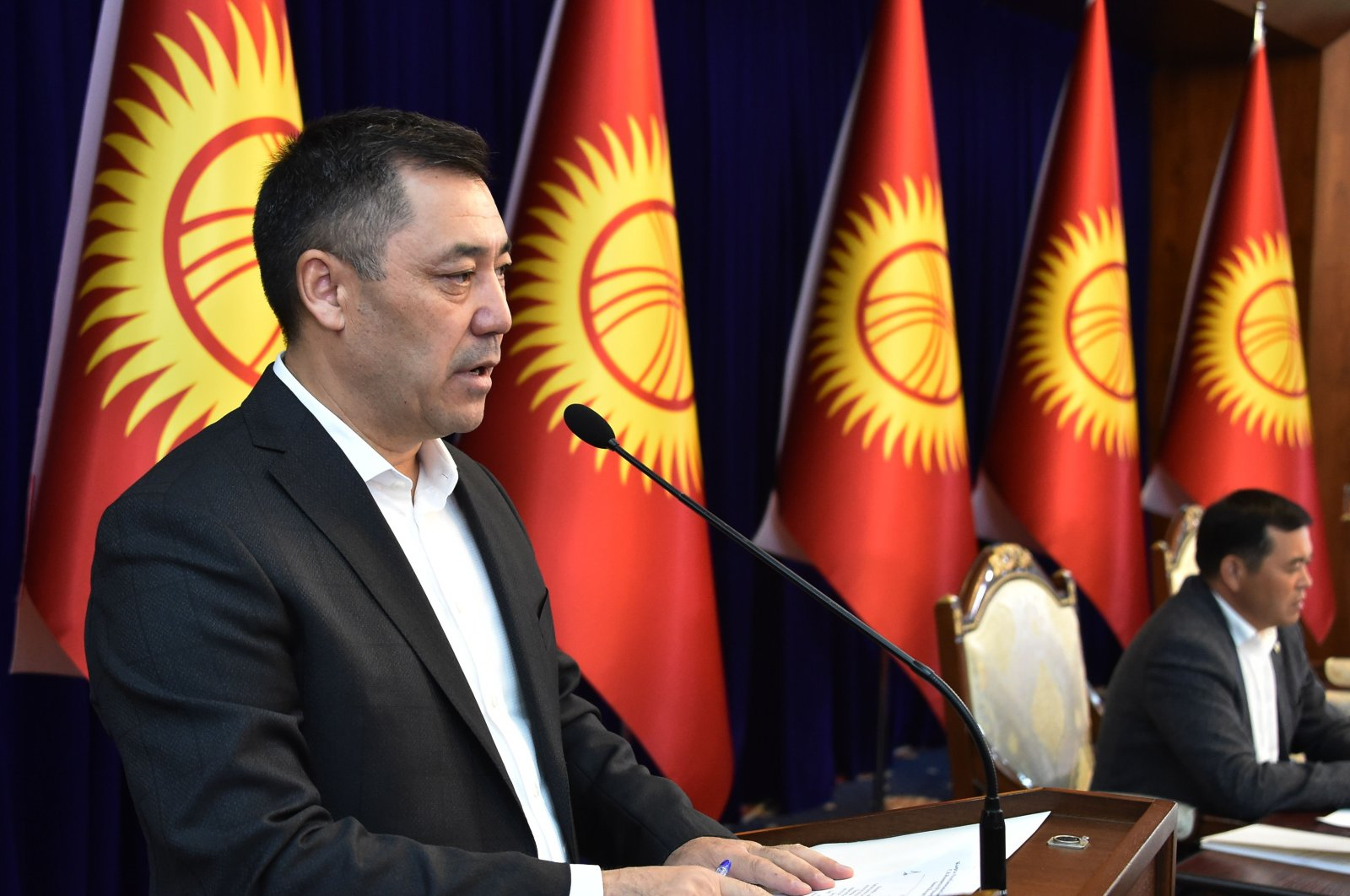 Kyrgyz Prime Minister Sadyr Zhaparov speaks at an extraordinary session of the Parliament at the Ala-Archa state residence, Bishkek, Oct. 10, 2020. (AFP Photo)