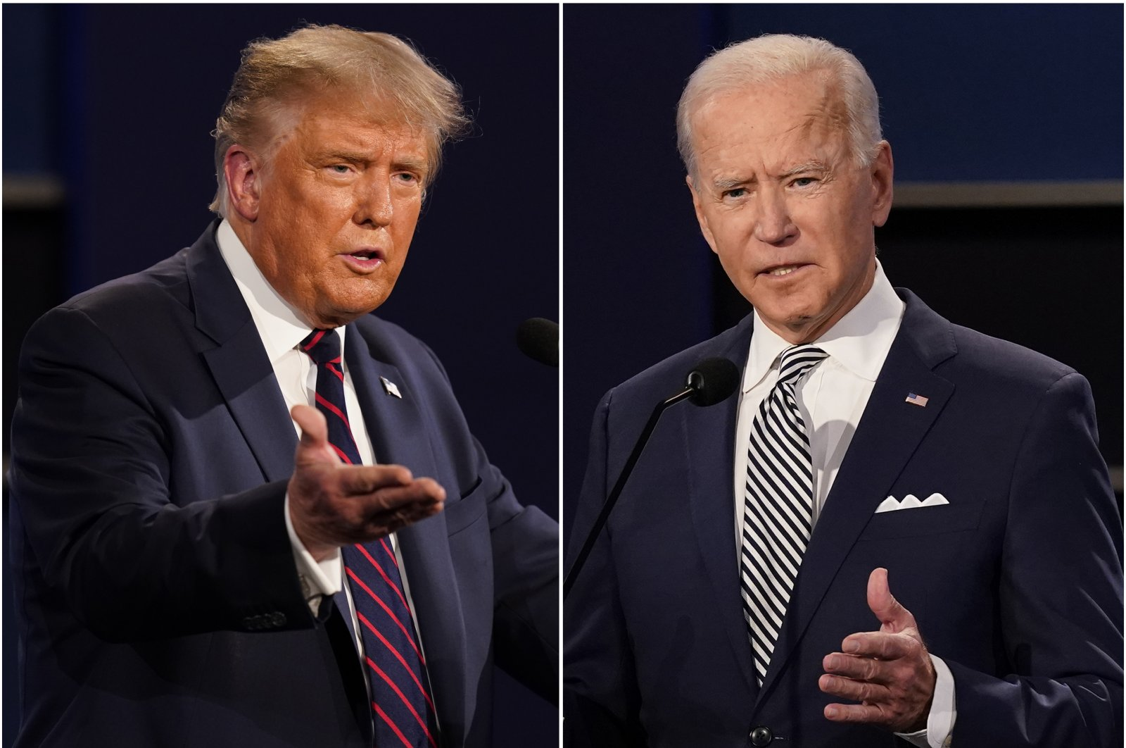 This combination of Sept. 29, 2020, file photos shows U.S. President Donald Trump, left, and former Vice President Joe Biden during the first presidential debate at Case Western University and Cleveland Clinic, in Cleveland, Ohio. (AP Photo)