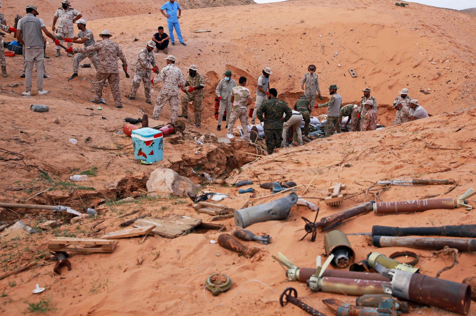 Military engineers of the U.N.-recognized Libyan Government of National Accord (GNA) prepare to dispose of ammunition and explosives in the Libyan capital Tripoli, Oct. 12, 2020. (AFP Photo)