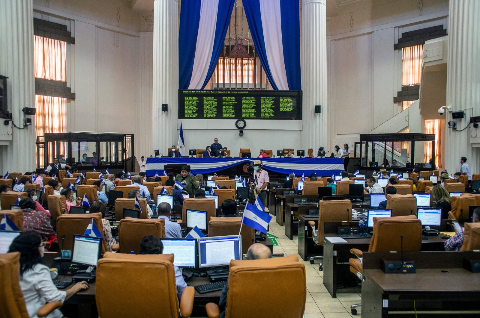 General view during the discussion of a law for the regulation of foreign agents at the Congress, Managua, Oct. 15, 2020. (AFP Photo)