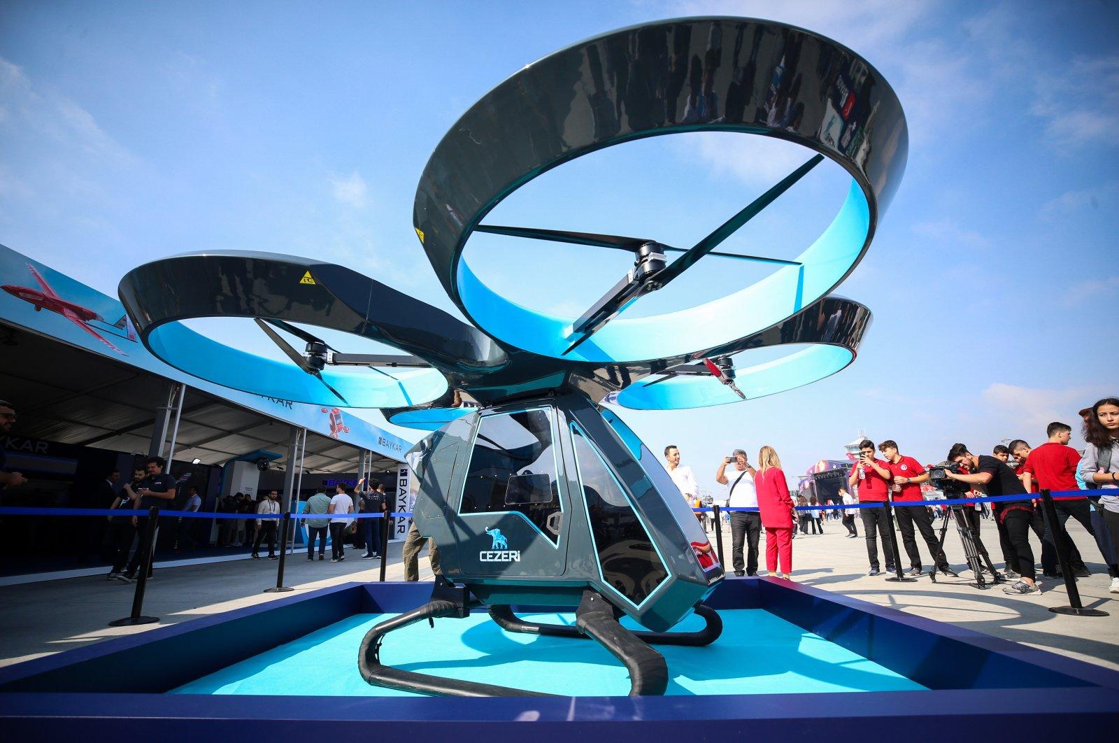 The prototype of Turkey's first flying car, Cezeri, at Teknofest in Istanbul, Turkey, Oct. 7, 2019. (AA Photo)