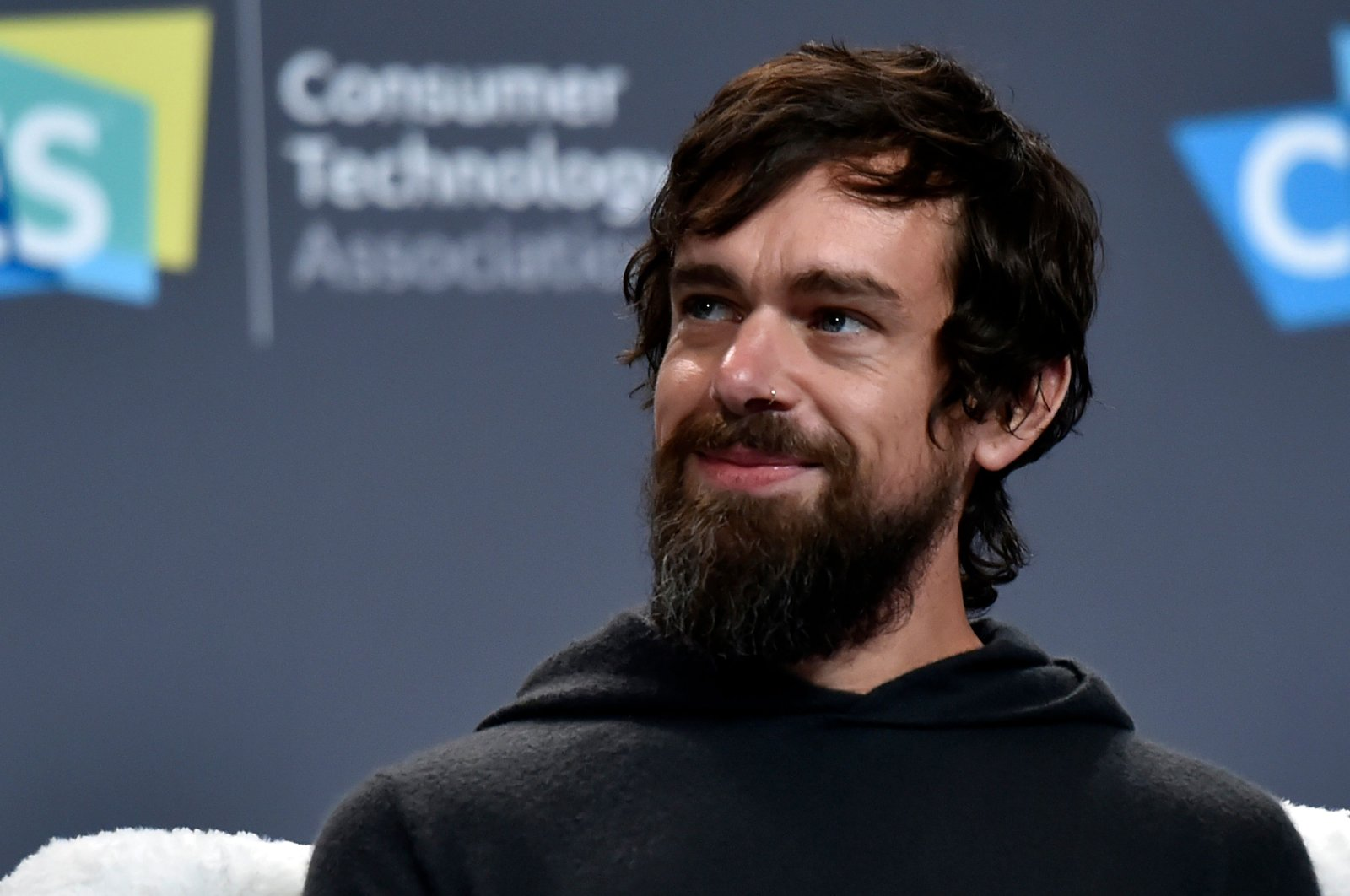 Twitter CEO Jack Dorsey speaks during a press event at CES 2019, in Las Vegas, Nevada, Jan. 9, 2019. (AFP Photo)