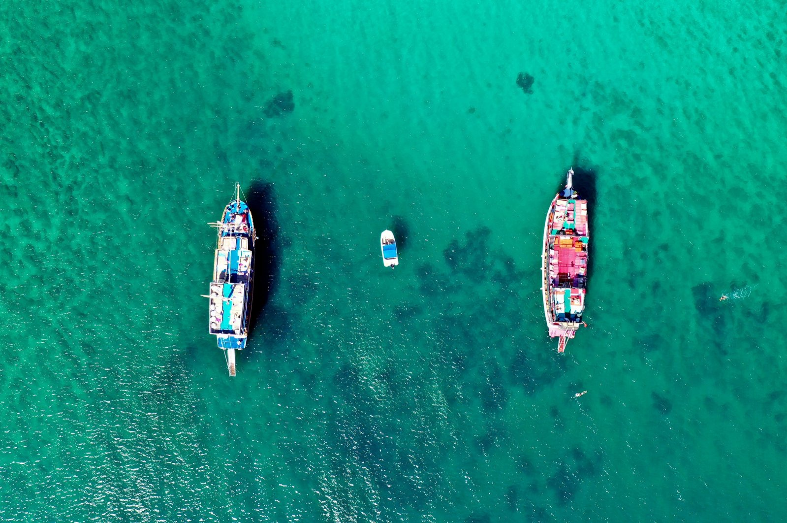 Tour vessels are seen from above off Turkey's Aegean coast, in western Aydın province, Oct. 16, 2020. (AA Photo)