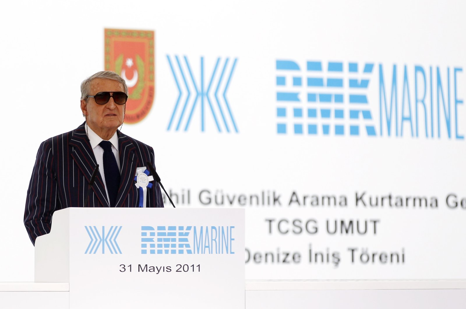 Koç Holding Honorary Chairman Rahmi Koç makes a speech during a launch ceremony for the newly built TCSG Umut, one of the four newly built search and rescue ships for the Turkish Coast Guard, at the RMK Marine shipyard in Istanbul, May 31, 2011. (Reuters Photo)