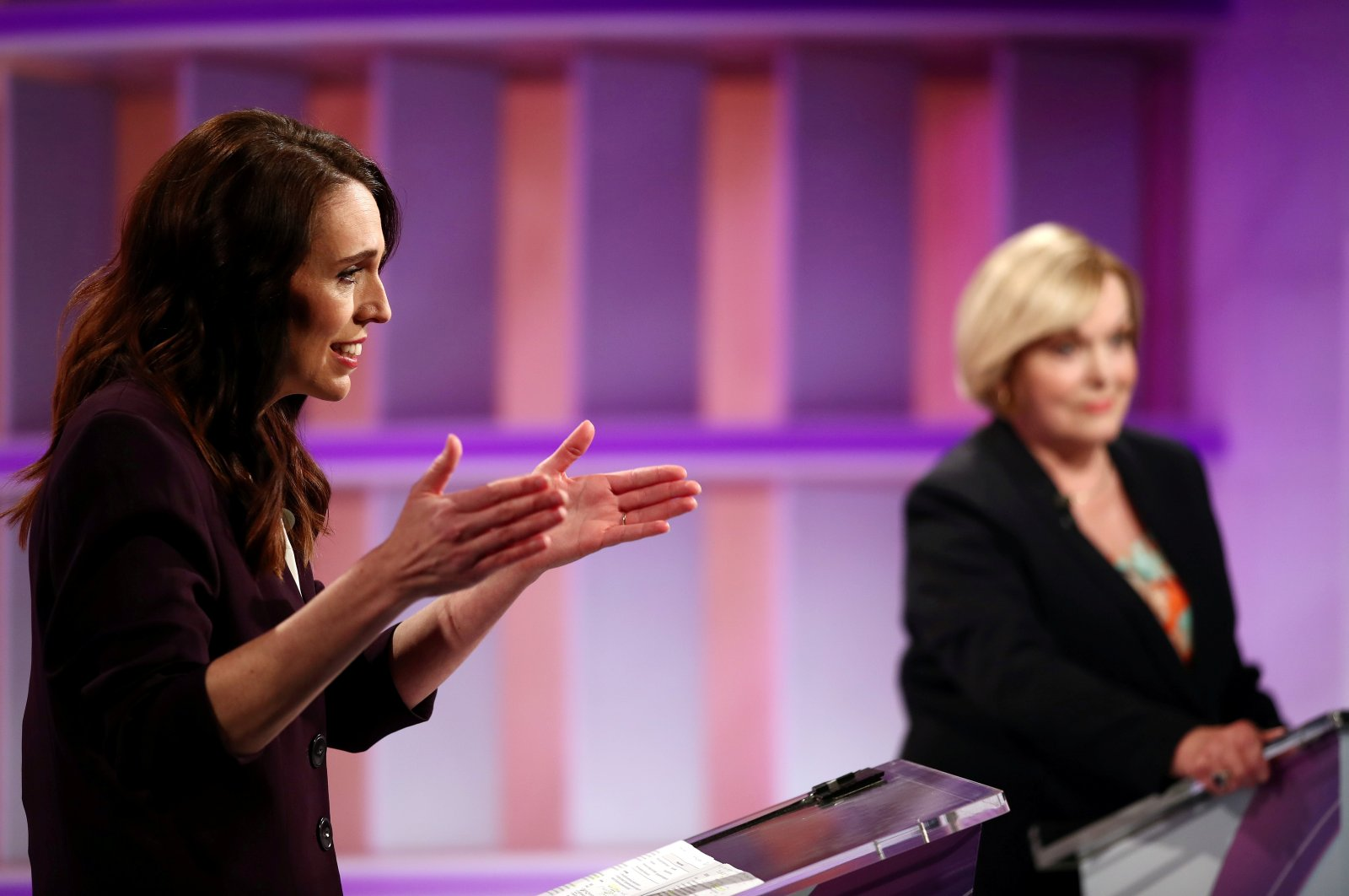 New Zealand Prime Minister Jacinda Ardern (L) and National leader Judith Collins participate in a televised debate at TVNZ in Auckland, New Zealand, Sept. 22, 2020. (Reuters Photo)