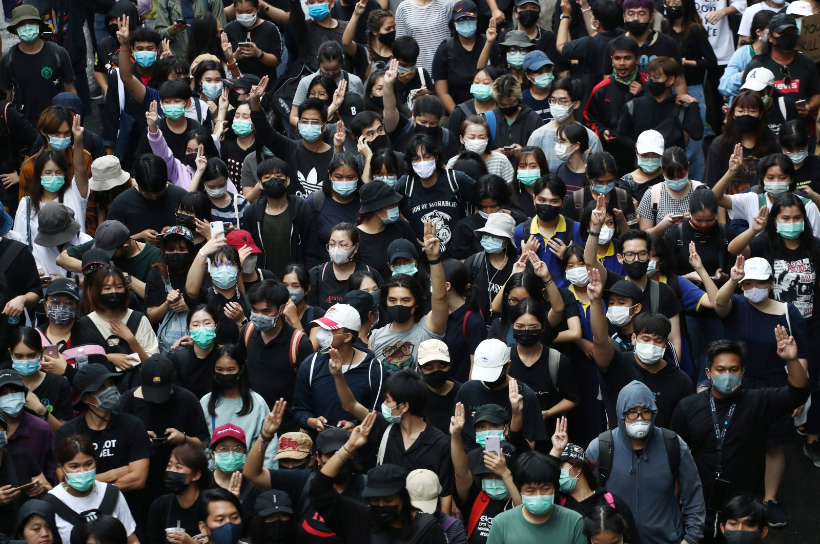 Pro-democracy demonstrators gather during a protest, in Bangkok, Thailand Oct. 17, 2020. (Reuters Photo)