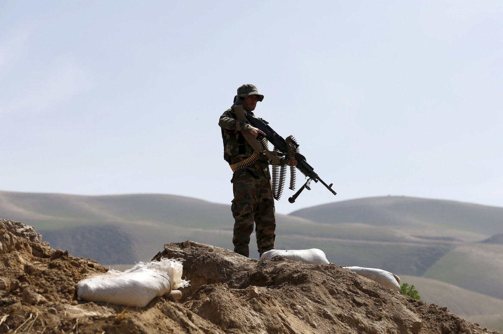 An Afghan National Army (ANA) soldier keeps watch during a patrol in Dand Ghori district of Baghlan province, Afghanistan on March 15, 2016. (Reuters Photo)